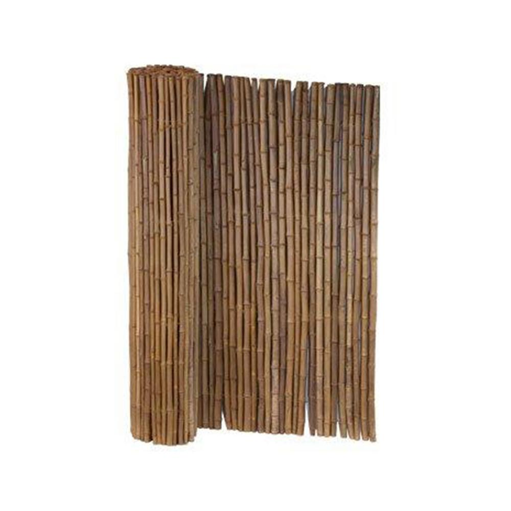 6 ft. x 8 ft. Caramel Brown Full Round Bamboo Fence