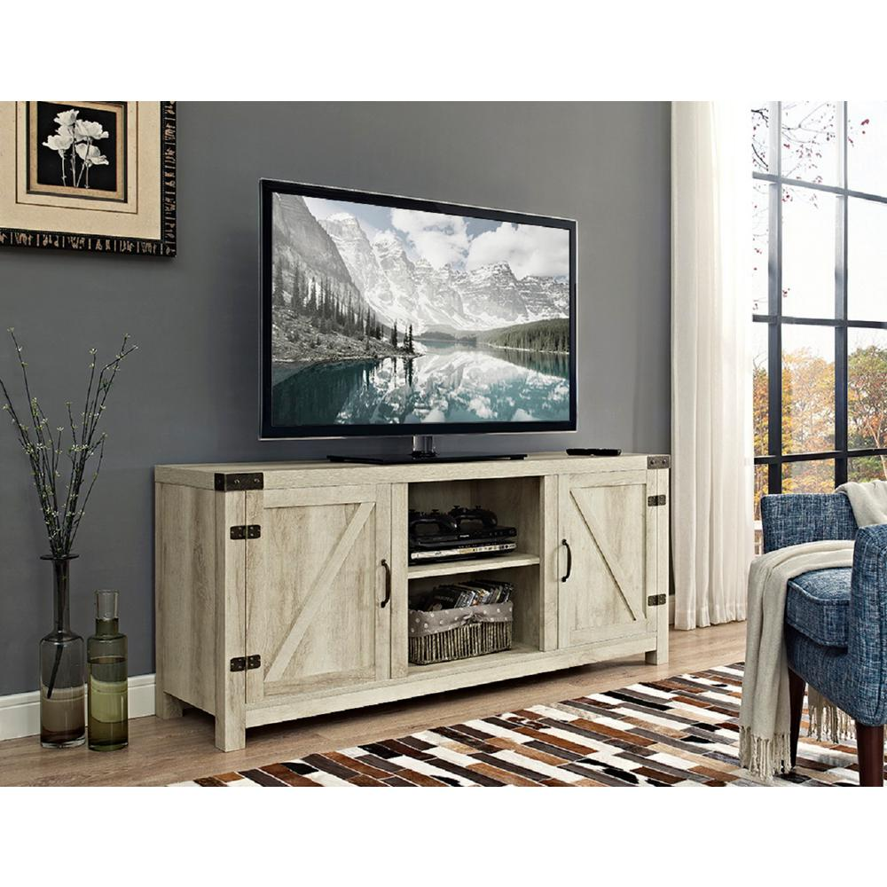 Walker Edison Furniture Company 58 In Barn Door Tv Stand With Side Doors White