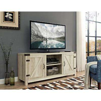 58 in. Barn Door TV Stand with Side Doors - White Oak