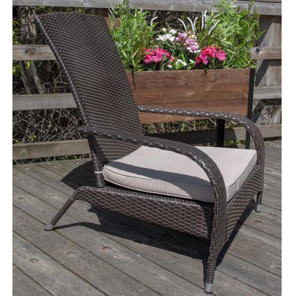Made4Home Imperial Adirondack Chair Handmade Rattan Wicker Steel Frame Cushion All Weather Comfortable