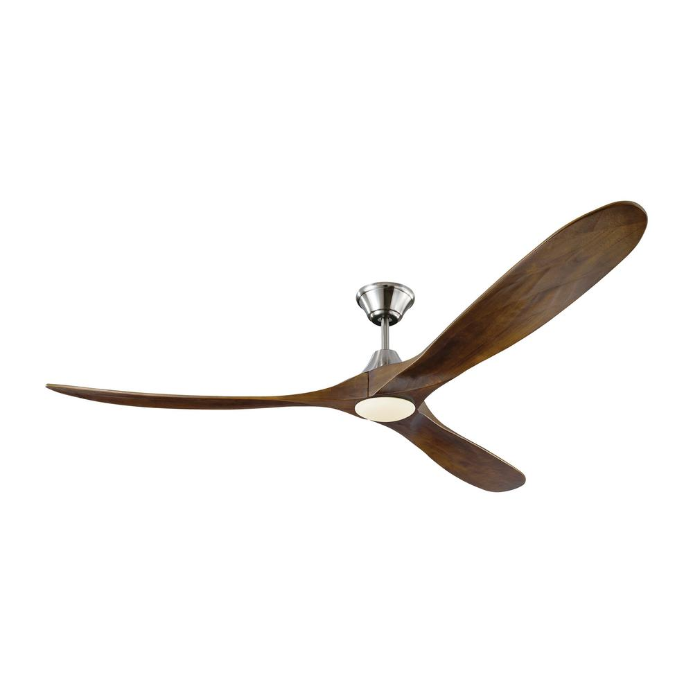 Monte Carlo Maverick Max LED 70 in. Integrated LED Indoor/Outdoor Brushed Steel Ceiling Fan with Dark Walnut Blades with Remote