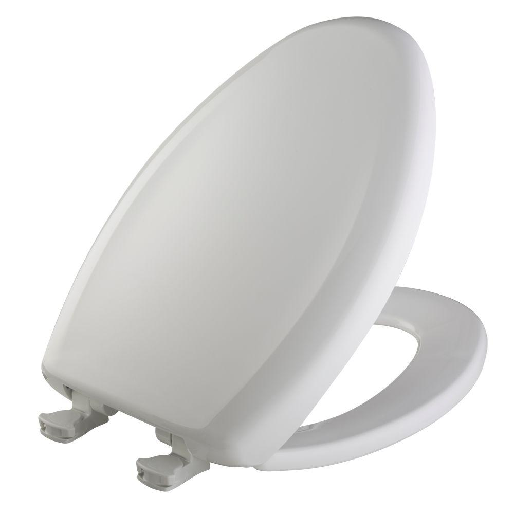 Slow Close STA-TITE Elongated Closed Front Toilet Seat in Crane White