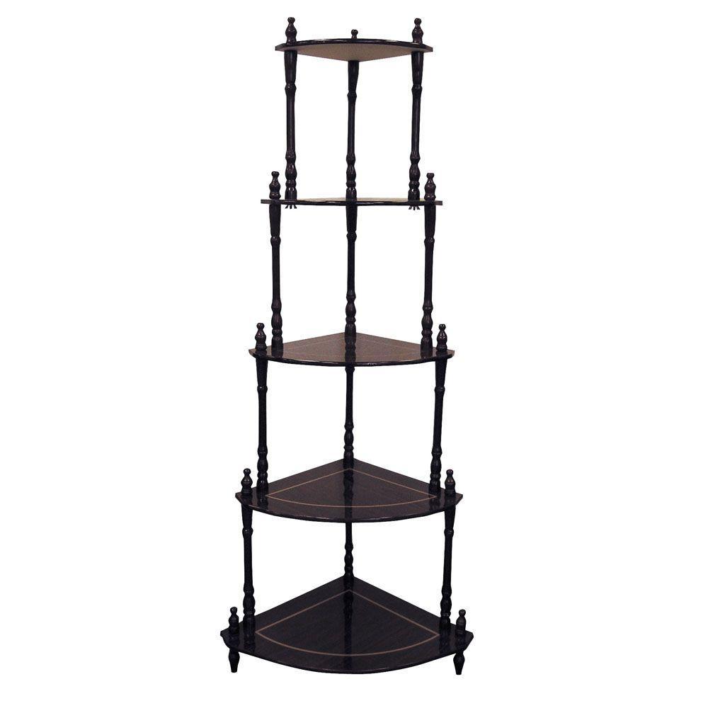 Good Corner Stand Part - 4: Cherry 5-Shelf Corner Stand