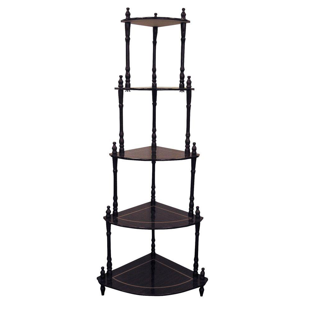 Cherry 5-Shelf Corner Stand