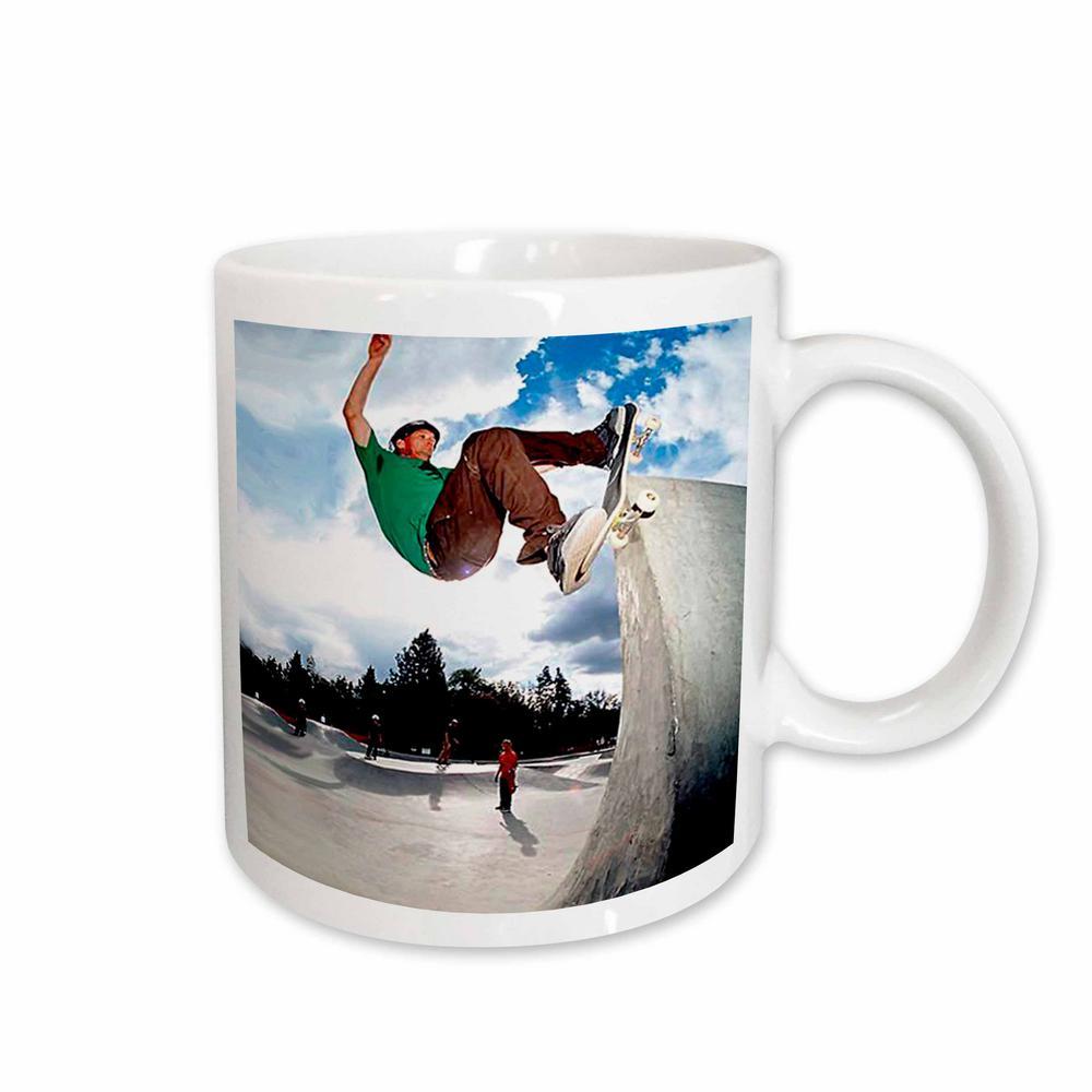 11 oz. White Ceramic Skate Boarding Mug