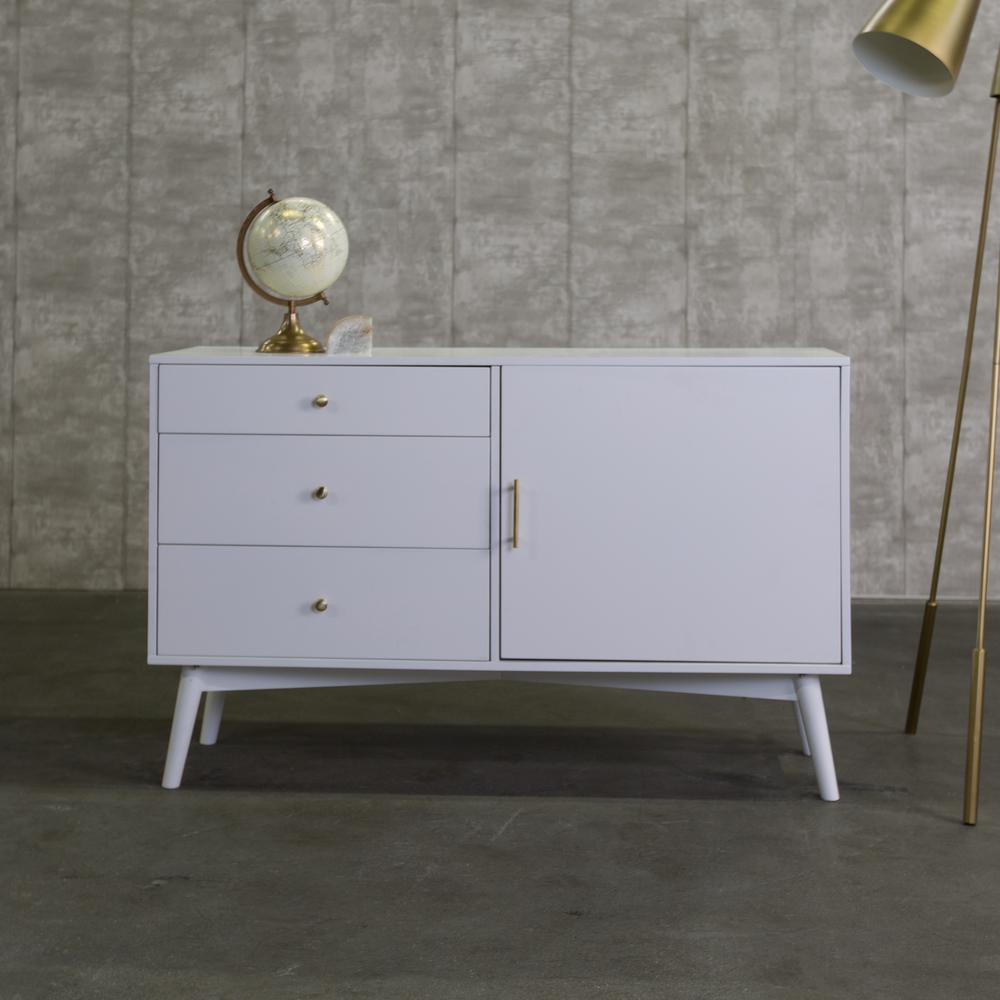 Walker Edison Furniture Company 52 In. White Mid Century TV  Console HDH52CMCWH   The Home Depot