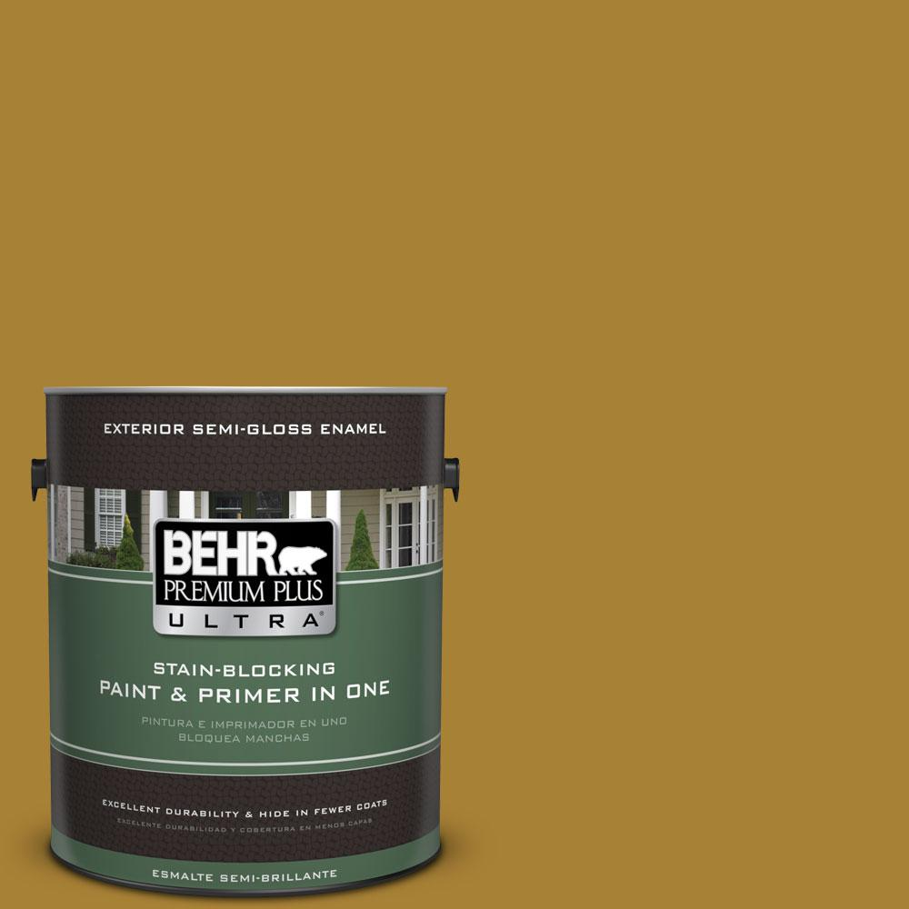 BEHR Premium Plus Ultra 1-gal. #340D-7 Golden Green Semi-Gloss Enamel Exterior Paint