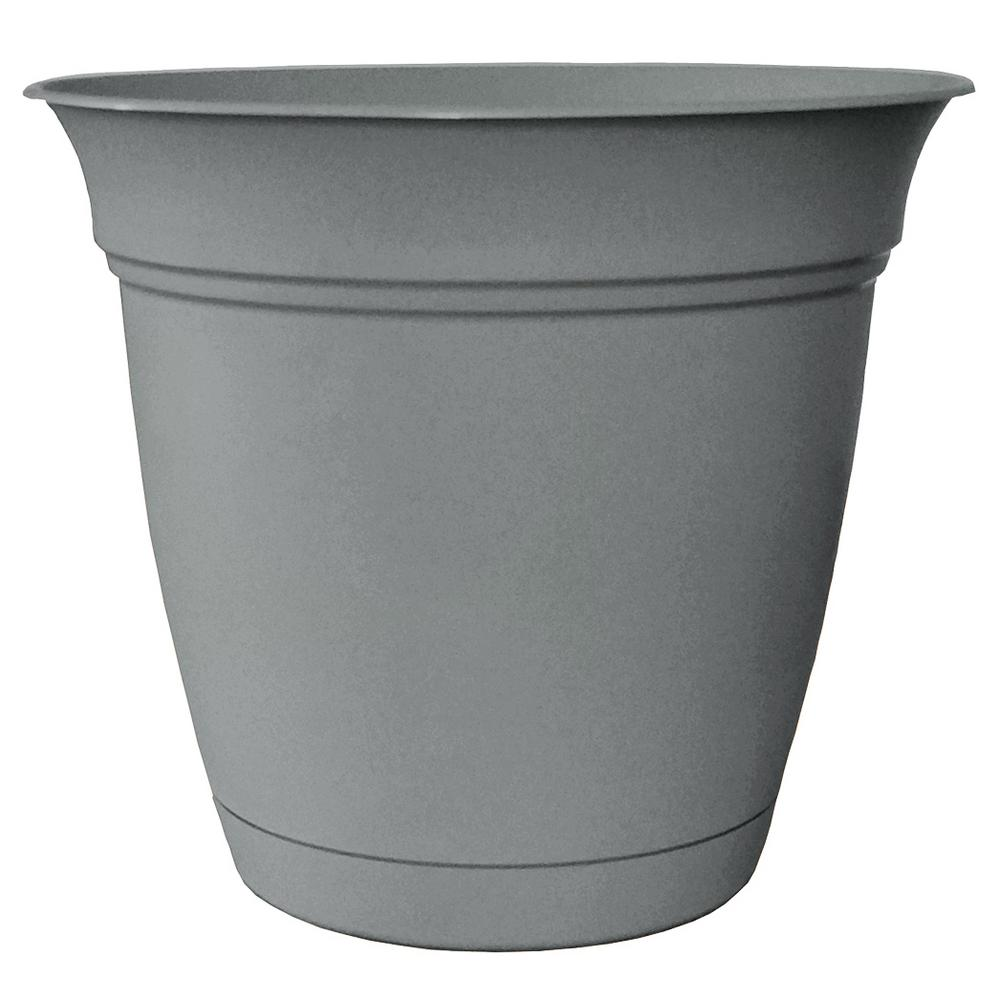 Belle 6 in. Dia. Stormy Gray Plastic Planter with Attached Saucer