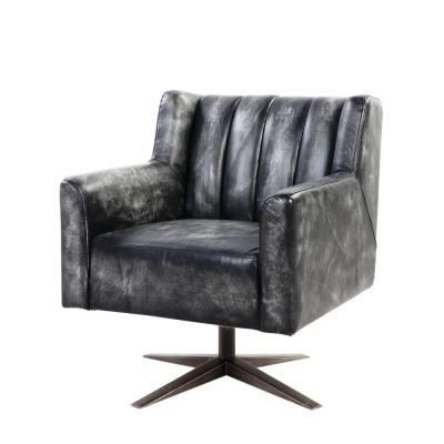 Black Channel Tufted Leatherette Office Chair with Metal Star Base