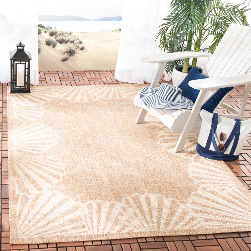 Seashell Natural/Beige 5 ft. 3 in. x 7 ft. 6 in. Indoor/Outdoor Area Rug