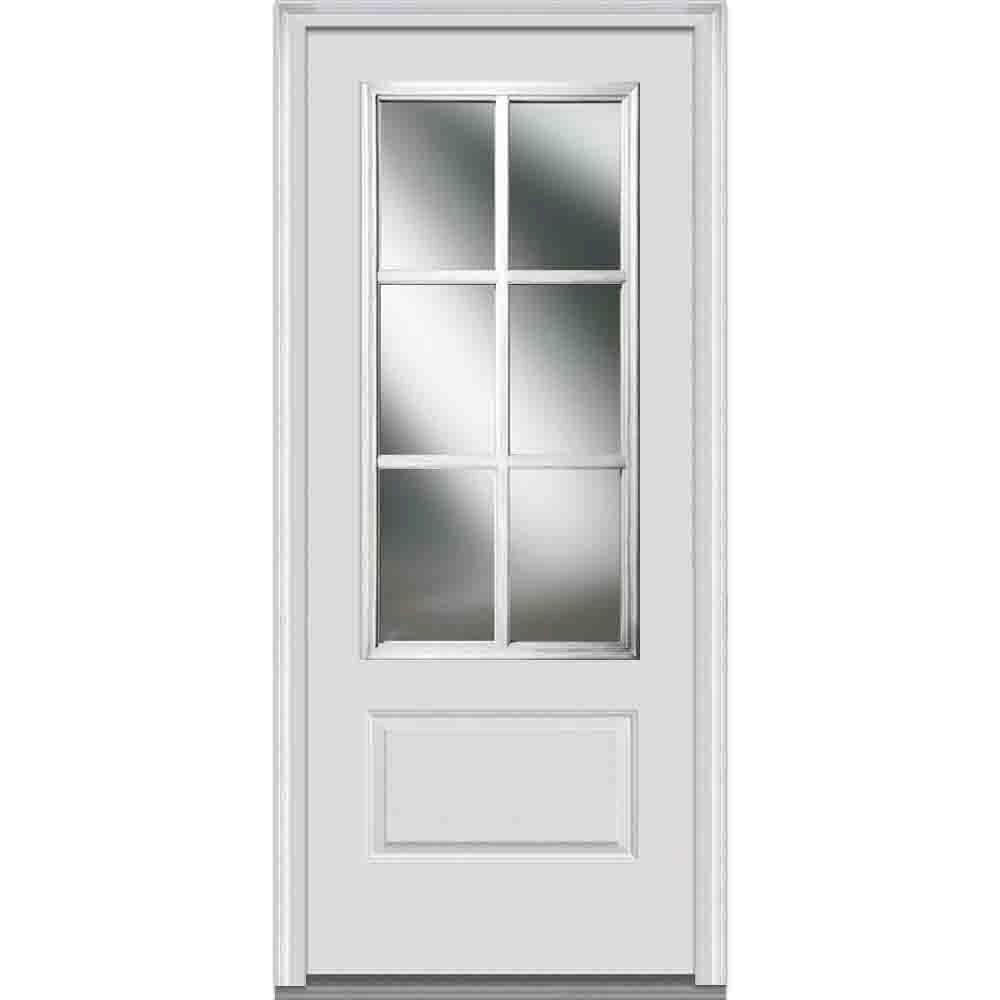 MMI Door 36 in. x 80 in. Simulated Divided Lites Right-Hand 3/4-Lite Clear 1-Panel Primed Fiberglass Smooth Prehung Front Door