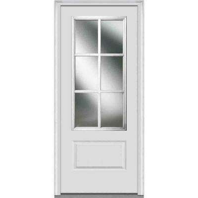 36 in. x 80 in. Simulated Divided Lites Left-Hand 3/4-Lite Clear 1-Panel Primed Fiberglass Smooth Prehung Front Door