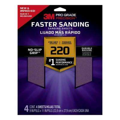 Pro Grade Precision Faster Sanding Sanding Sheets, 9 in x 11 in, 220 grit, Fine, 4/pk