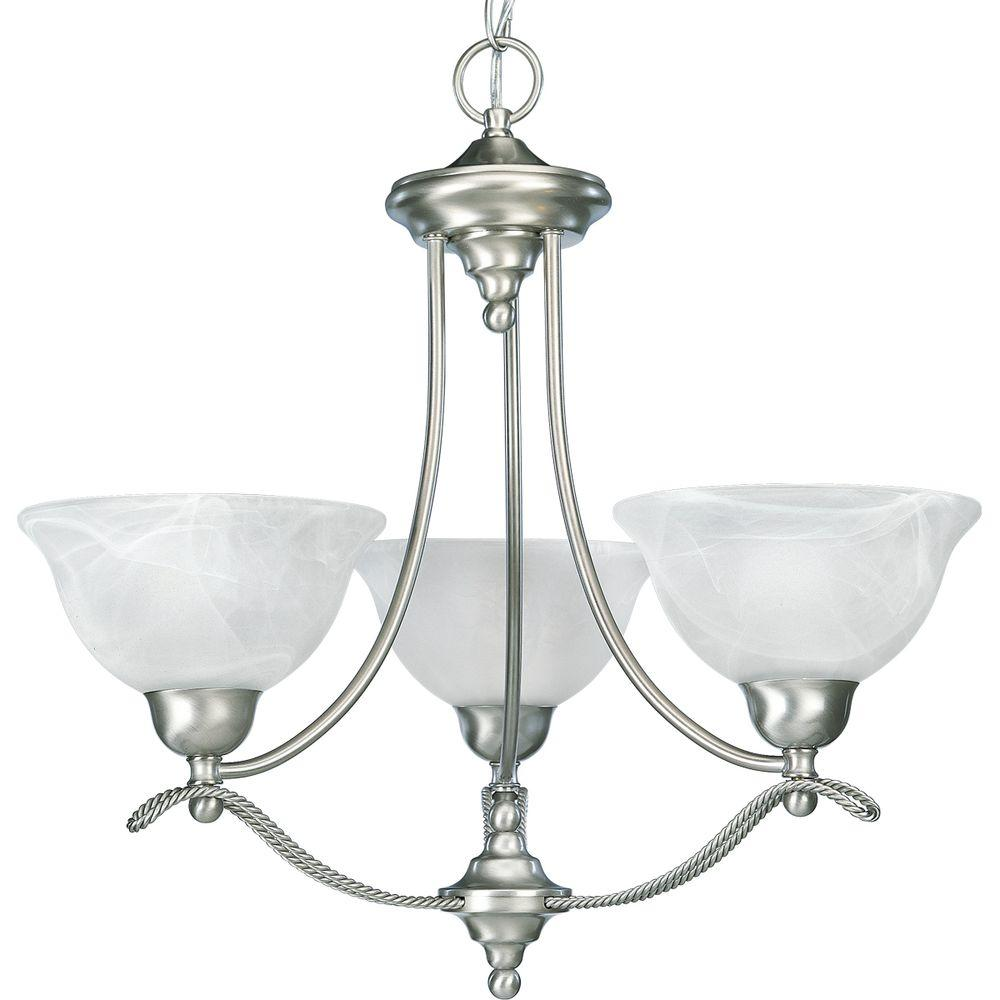 Progress Lighting Avalon Collection 3-Light Brushed Nickel Chandelier