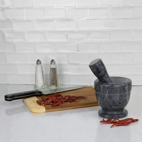 Home Basics Marble Mortar and Pestle