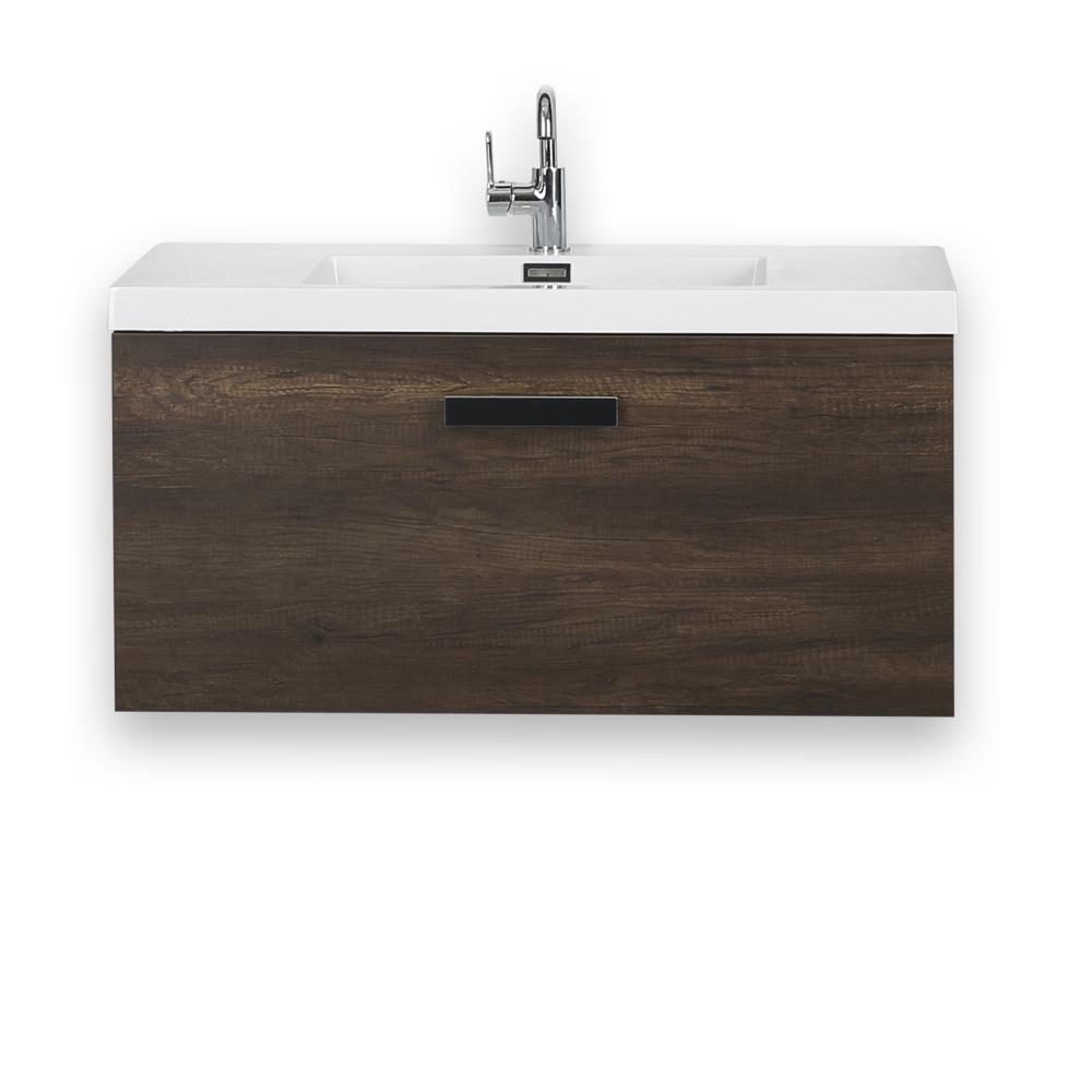 Streamline 39 4 In W X 18 3 H Bath Vanity Brown With Resin Top White Basin