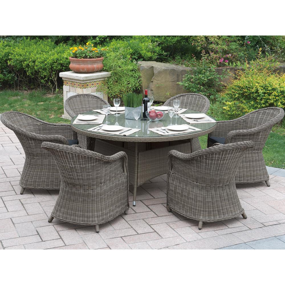 Venetian Worldwide Neive 7 Piece All Weather Wicker Circular Outdoor Dining Set With Brown Cushion Vp 229 7pcs The Home Depot