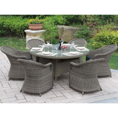 Neive 7-Piece All-Weather Wicker Circular Outdoor Dining Set with Brown Cushion