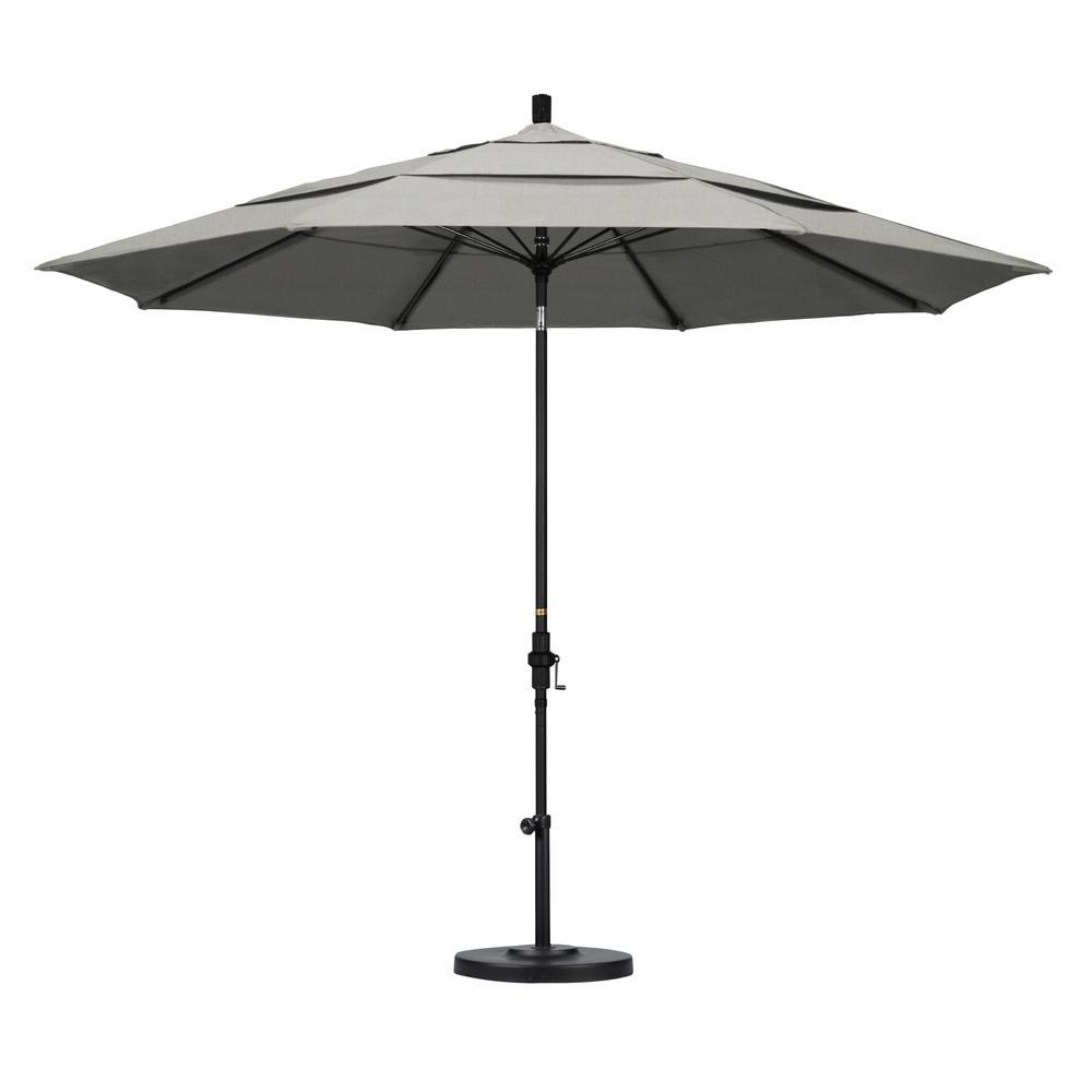 11 ft. Matted Black Aluminum Market Patio Umbrella with Fiberglass Ribs Collar Tilt Crank Lift  in Granite Sunbrella