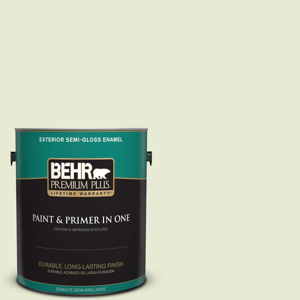 BEHR Premium Plus 1-gal. #410E-2 Celery Ice Semi-Gloss Enamel Exterior Paint