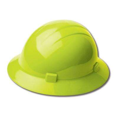 Americana 4 Point Nylon Suspension Slide-Lock Full Brim Hard Hat in Hi Viz Lime