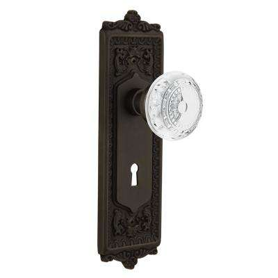 Egg and Dart Plate Interior Mortise Crystal Meadows Door Knob in Oil-Rubbed Bronze