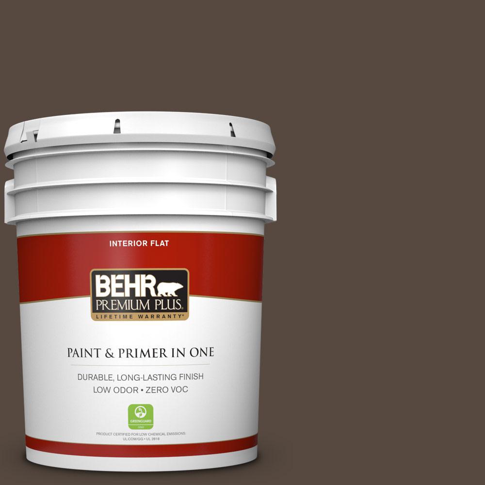 5 gal. #PPU5-19 Dark Truffle Zero VOC Flat Interior Paint