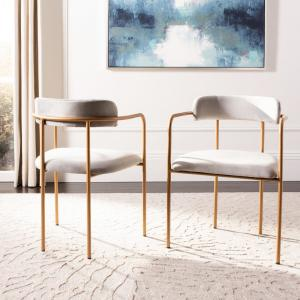 Wondrous Safavieh Camille Gray Gold Accent Chair Set Of 2 Ach6201A Pdpeps Interior Chair Design Pdpepsorg
