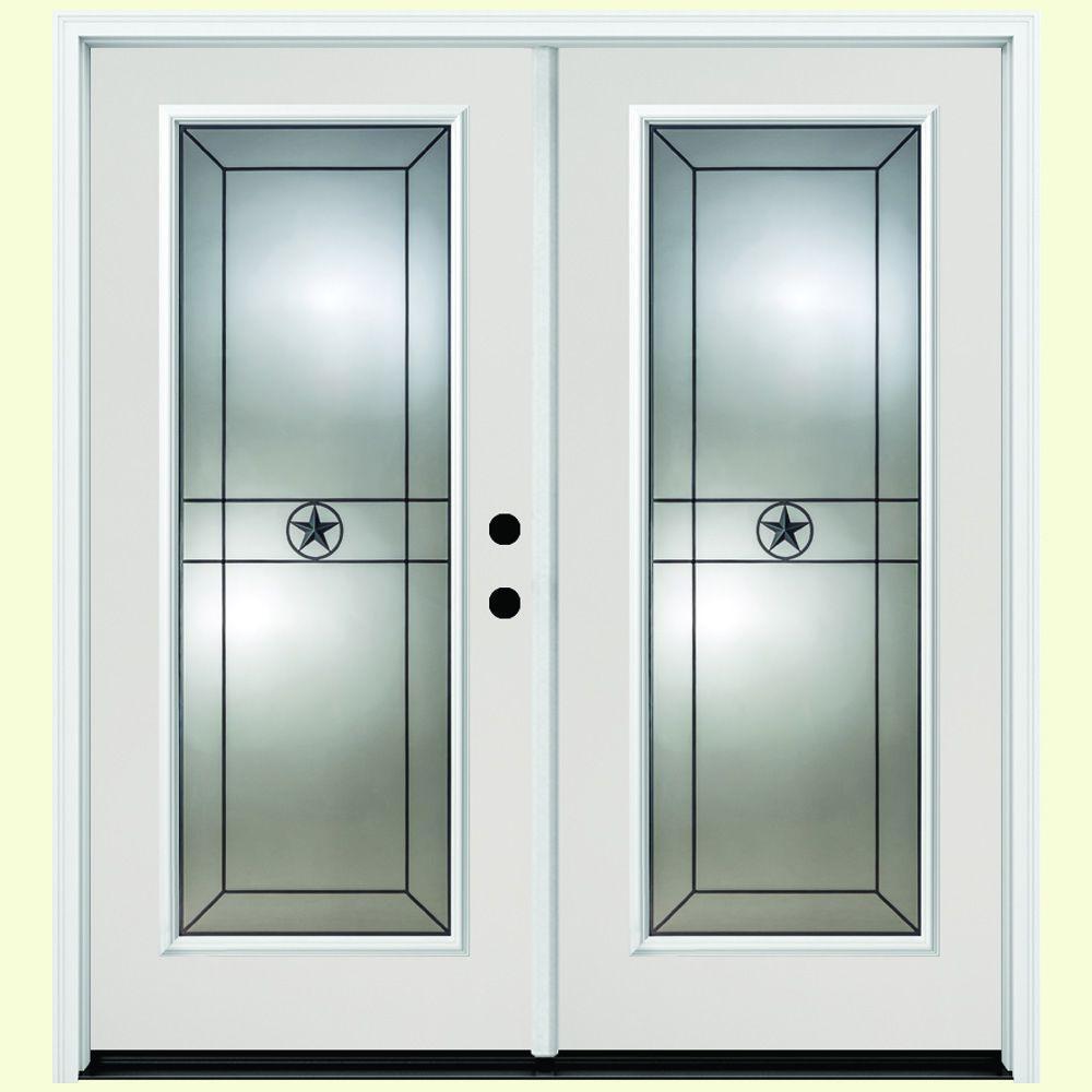 72 in. x 80 in. Alamo White Primer Prehung Primed Left-Hand Inswing Full Lite Fiberglass Patio Door