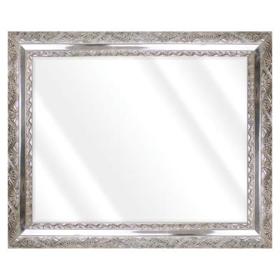 Large Rectangle Distressed Silver With Champagne Beveled Glass Art Deco Mirror (42 in. H x 30 in. W)