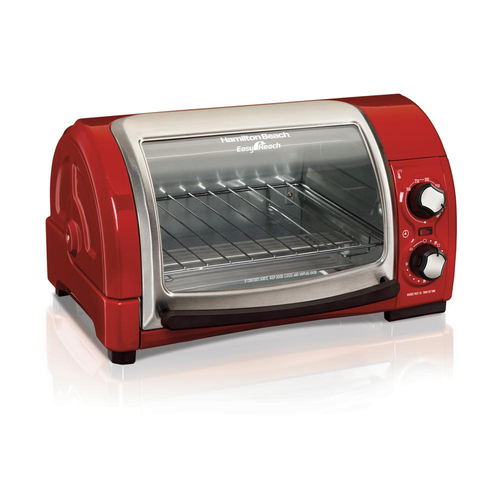 Hamilton Beach Easy Reach 1200 W 4-Slice Red Toaster Oven with Roll-Top Door -  31337D