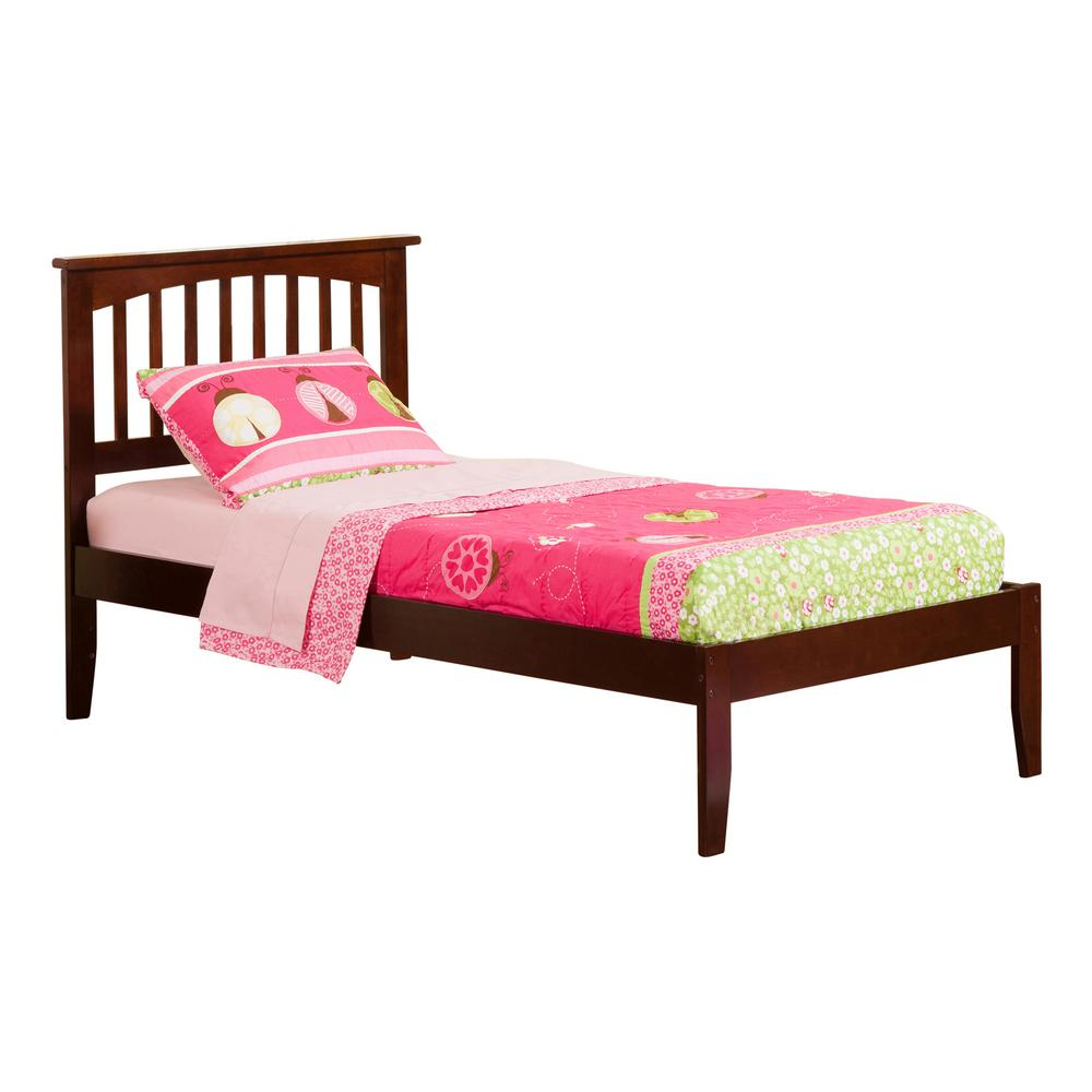 Atlantic Furniture Mission Walnut Twin Xl Platform Bed With Open Foot Board