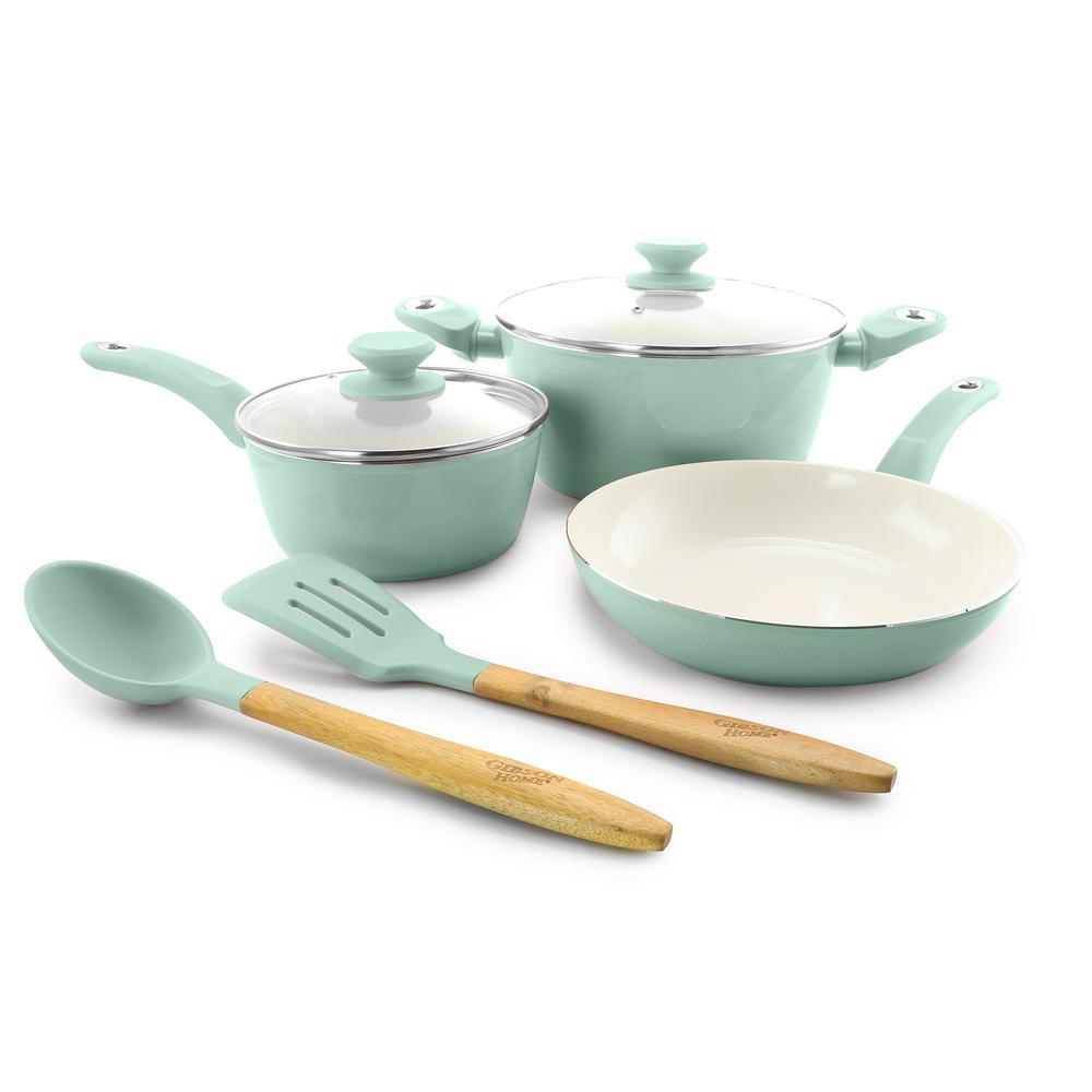 Plaza Cafe 7-Piece Sky Blue Cookware Set