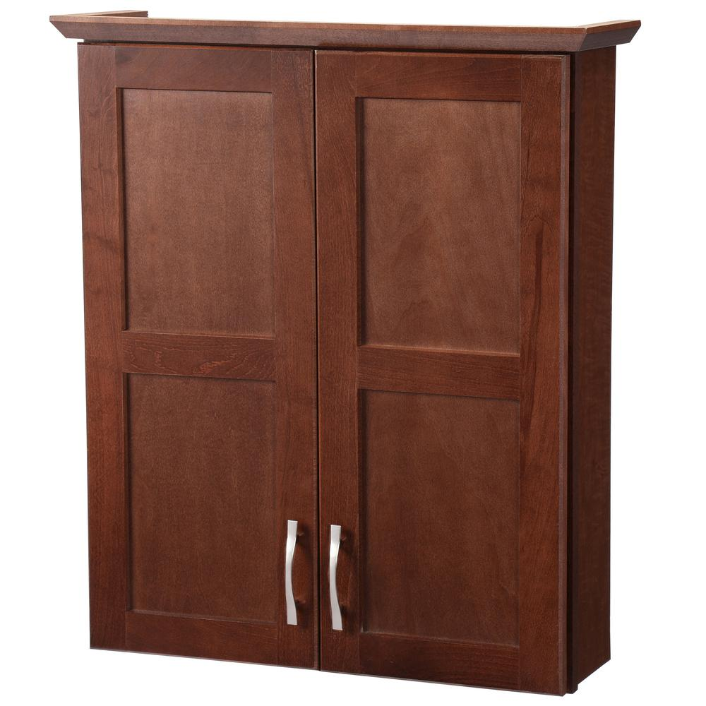 Glacier Bay Casual 25 1 2 In W X 29 H 7 D Bathroom Storage Wall Cabinet Cognac