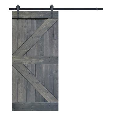 K Series 30 in. x 84 in. Gray Knotty Pine Wood Interior Sliding Barn Door with Hardware Kit