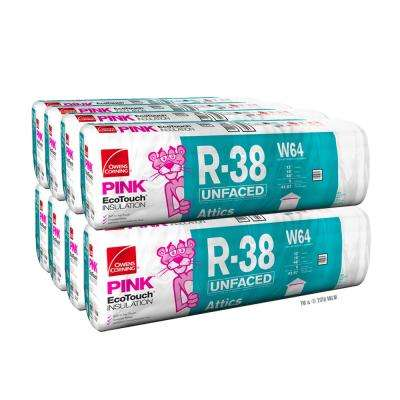 R-38 EcoTouch PINK Unfaced Fiberglass Insulation Batt 24 in. x 48 in. (8-Bags)