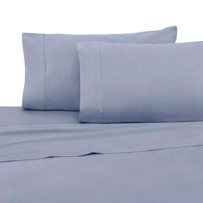 T400 Collection Eventide Light Blue Cotton King Sheet Set