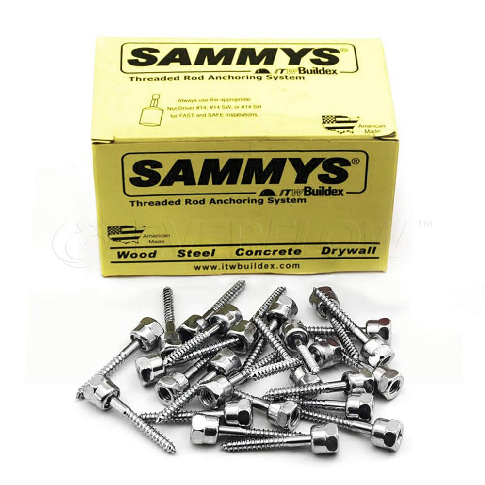 Sammys 1/4 in. x 2 in. Rod Anchor Super Screw Swivel Head with 3/8 in. Threaded Rod Fitting for Wood (25-Pack)