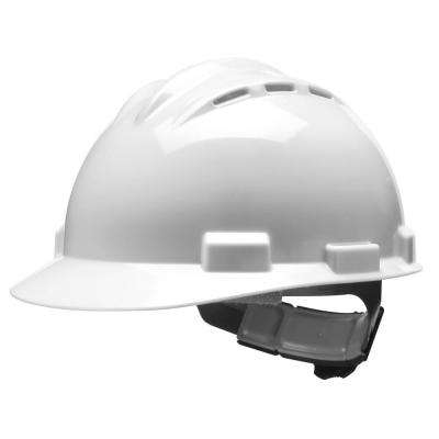 White 4-Point Ratchet Suspension Vented Cap Style Hard Hat