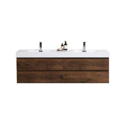 Fortune 72 in. W Bath Vanity in Rosewood with Reinforced Acrylic Vanity Top in White with White Basins