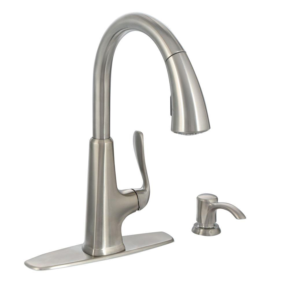 pfister pasadena single handle pull down sprayer kitchen faucet with soap dispenser in stainless - Kitchen Faucet Home Depot
