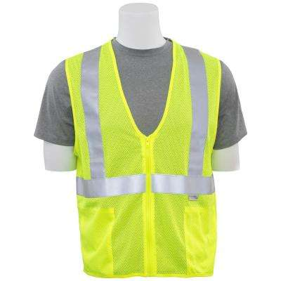 S15Z 6X Hi Viz Lime Poly Mesh Safety Vest