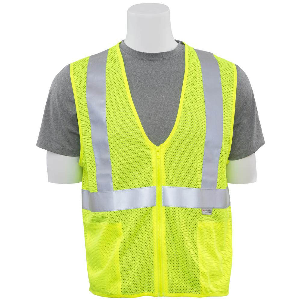 297f65b94bb9 ERB S15Z LG Hi Viz Lime Poly Mesh Safety Vest-14626 - The Home Depot