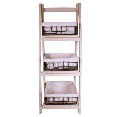 13.8 in. x 36 in. Foldable Wood Shelf with 3 Foldable Metal Baskets and Liners