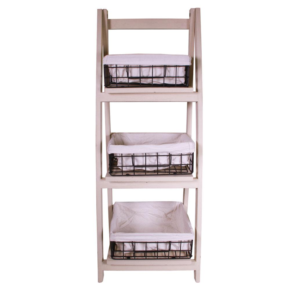 foldable wood shelf with 3 foldable metal baskets and the home depot