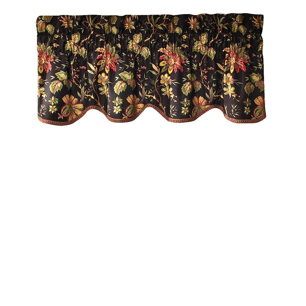 Waverly Felicite 50 in. W x 15 in. L Cotton Window Valance in Noir