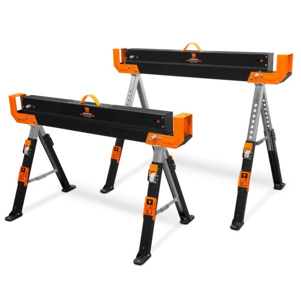 1300 lbs. Capacity 32 in. H Adjustable Folding Steel Saw Horse with 2x4 Support Arms (2-Pack)