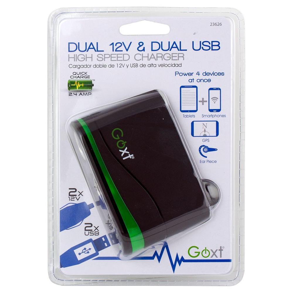 GoXt Dual 12 Volt and Dual USB Charger
