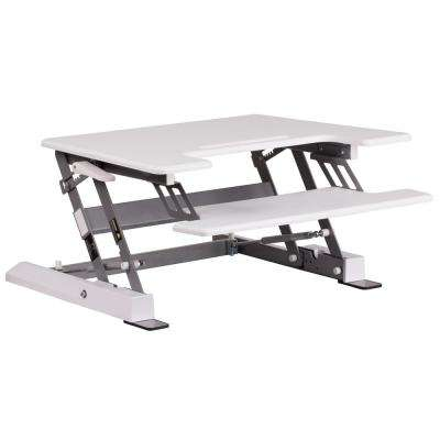 HERCULES Series 28.25 in. W White Sit/Stand Height Adjustable Desk with Height Lock Feature and Keyboard Tray
