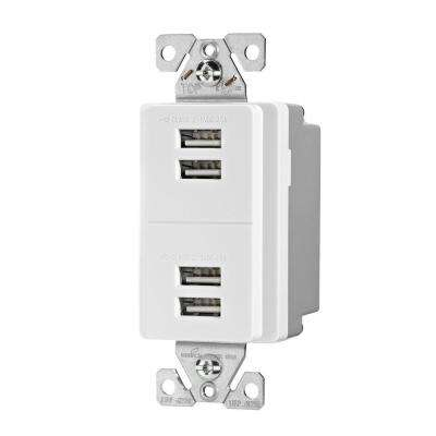 5.0 Amp 5-Volt DC USB Charging Station in White